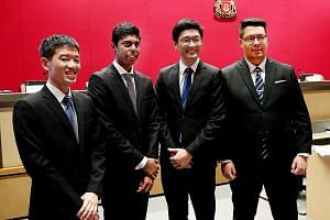 Singapore Management University law students (from far left) Mok Zi Cong, Mohamed Arshad Mohamed Tahir, Ko Yuen Hyung and Alexander Lee at the hearing yesterday. Mr Lee said having three specialised wings for the president to consult would improve th