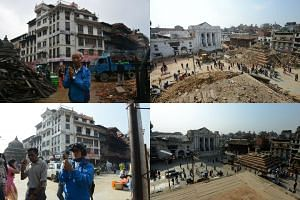 (Left) A Nepalese resident perfoming a morning prayer near a temple in the earthquake-damaged Durbar Square in Kathmandu on April 30, 2015 (top) and the same scene on April 23, 2016. (Right) Pedestrians walking by earthquake-damaged buildings in Durb