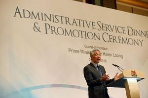 Prime Minister Lee Hsien Loong gives his speech at the Administrative Service Dinner and Promotion Ceremony at Shangri-La Hotel on April 26, 2016