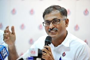 People's Action Party (PAP) candidate for the Bukit Batok by-election, Mr Murali Pillai, unveiling his manifesto.