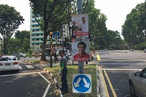 Election posters seen in Bukit Batok. PAP's Mr Murali Pillai, 48, and SDP's Dr Chee Soon Juan, 53, have been announced as candidates for the Bukit Batok by-election.
