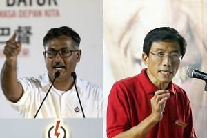 Bukit Batok by-election candidates, PAP's Murali Pillai (left) and SDP's Chee Soon Juan, speaking during their rallies on April 29, 2016.