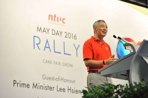 PM Lee Hsien Loong gives his speech during the May Day Rally.