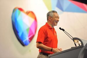 Prime Minister Lee Hsien Loong speaking at the May Day rally.