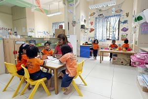 Children at the Little Dolphins Playskool in Clementi. It is run by the United Indian Muslim Association charity and caters to children of all races and religions.