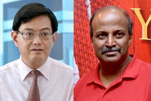 Finance Minister Heng Swee Keat (left) and SDP Central Executive Committee Member Paul Tambyah.