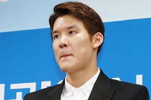 South Korean swimmer Park Tae Hwan at a press conference to express his regret for his doping in Incheon, on May 2, 2016.
