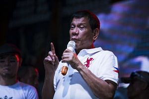 Rodrigo Duterte, mayor of Davao City and presidential candidate, speaks at a campaign rally in Manila, the Philippines, on May 1, 2016.