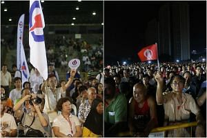 PAP (left) and SDP supporters waving flags of the respective parties during rallies for the Bukit Batok by-election.