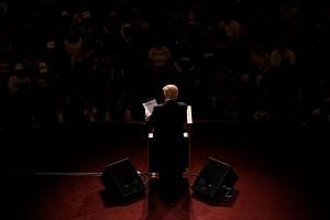 Donald Trump speaks at a campaign event at The Palladium at the Centre for Performing Arts in Carmel, Indiana.