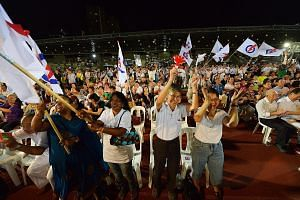 The crowd at the PAP rally at Bukit Gombak Stadium last night. Mr Tharman, the last speaker at the rally, said PAP candidate Murali Pillai can be trusted to serve.