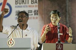 Bukit Batok by-election candidates Murali Pillai (left) and Chee Soon Juan speaking at rallies.