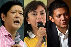 (From left) Philippine vice-presidential candidates Ferdinand Marcos Jr, Leni Robredo and Francis Escudero.