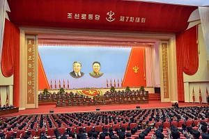 This photo taken last Friday and released yesterday by North Korea's official Korean Central News Agency (KCNA) shows the 7th Workers' Party Congress taking place at the