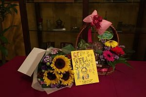 A table was set up in TTSH's Heritage Museum on Friday morning for well-wishers to place their gifts for Mr Heng.