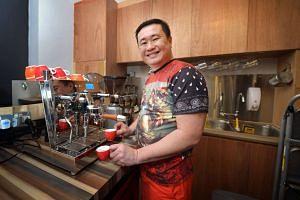 Mr Frankie Lee of Grind Coffee in Collyer Quay using an ACS Vesuvius Espresso Machine.