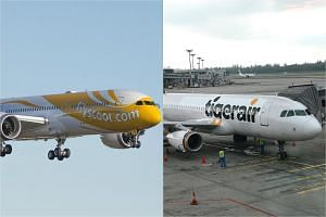 Budget carriers Scoot (left) and Tigerair.