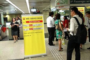 Commuters at Braddell MRT alerted of a disruption on Jan 21, 2014. Singapore's networkhad 14 major breakdowns in 2014. Last year, it had 29 major rail disruptions - 3.6 times that of Hong Kong's older, longer and more heavily-laden system.