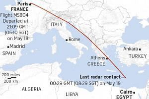 A graphic showing the route of EgyptAir flight MS804.