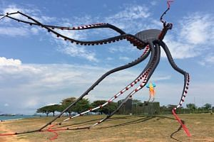 The giant octopus kite flying over the Marina Barrage on May 15, 2016.