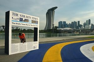 Over 13,000 people are expected for the fourth edition of the event. Runners can get their photos taken at this booth at the ST Run post-race carnival at the F1 Pit Building.