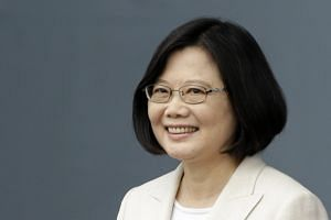 Taiwan President Tsai Ing-wen speaks to the crowd after swearing in as the 14th President of Taiwan, on May 20, 2016.