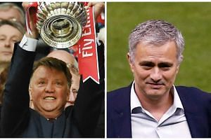 Van Gaal lifts the FA Cup trophy (left) but is set to be replaced by Mourinho (right), according to reports.