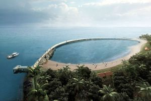 An artist's impression of the boardwalk on Big Sister's Island which will provide sweeping views of the coastline.