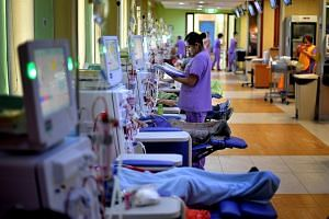 Renal failure patients at the Thong Teck Sian Tong Lian Sin Sia National Kidney Foundation dialysis centre in Woodlands.
