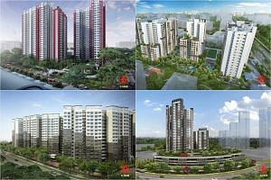 New BTO projects (clockwise from top left) Ang Mo Kio Court, Bedok North Woods, Bukit Panjang's Senja Heights and Sembawang's EastCreek @ Canberra.