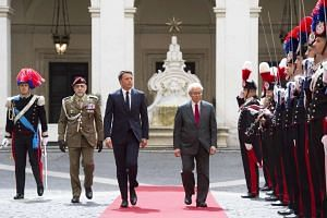 Italian Prime Minister Matteo Renzi welcoming the Singapore's President Tony Tan Keng Yam, in Rome, Italy, on May 23, 2016.