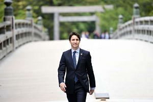 Canadian Prime Minister Justin Trudeau arriving at Ise-Jingu Shrine on May 26, the first day of the G-7 leaders summit.