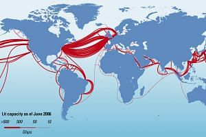 A map from 2006, showing how much capacity the world has in terms of undersea cables that carry Internet traffic and voice calls.
