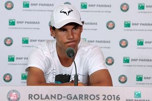 Spain's Rafael Nadal gives a press conference to announce his withdrawal from the French Open.