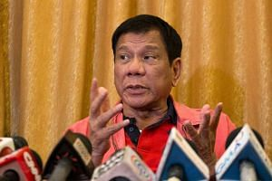 Philippine President-elect Rodrigo Duterte speaks during a press conference in Davao City, in Mindanao, on May 26, 2016.