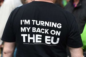A pro-Brexit campaigner attends an anti-EU event ahead of the forthcoming referendum, in Birmingham, England, on May 31, 2016.