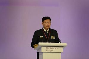Admiral Sun Jianguo, deputy chief of the Joint Staff Department of China's Central Military Commission, speaks during the IISS Shangri-La Dialogue, on May 31, 2015.