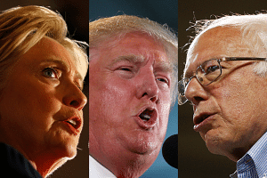A composite photo of Hillary Clinton, Donald Trump and Bernie Sanders.