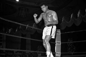 Muhammad Ali working out for his fight against Ron Lyle at the Tropicana in Las Vegas, Nevada, on May 12, 1975.