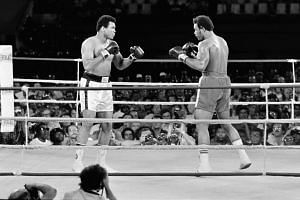 A1974 photo shows the fight between Ali (left) and George Foreman in Kinshasa.