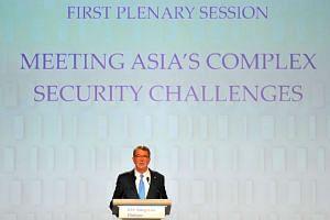 US secretary of defense Ashton Carter speaks during the IISS Shangri-La Dialogue Asia Security Summit in Singapore, on Saturday, June 4.