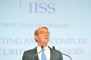 US Defence Secretary Ashton Carter at Shangri-La dialogue on June 4.