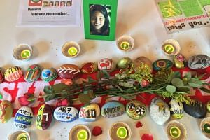 A table of tribute items from ex-TKPS students, parents and relatives who took on Mount Kinabalu in memory of those who died in the Sabah earthquake last year.