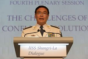 China's Admiral Sun Jianguo, deputy chief of general staff of the Chinese People's Liberation Army, speaking at a plenary session at the 15th IISS Shangri-La Dialogue in Singapore on June 5.
