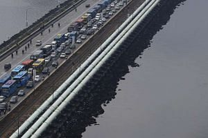 Water pipes along the length of the causeway between Singapore and Johor.