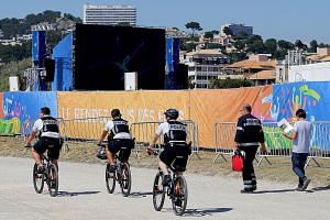 Police officers on patrolling on bikes in Marseille on June 6.