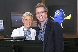 In Finding Dory, a lovable but forgetful blue tang fish called Dory (voiced by Ellen DeGeneres, far left, with director Andrew Stanton) goes in search of her parents.