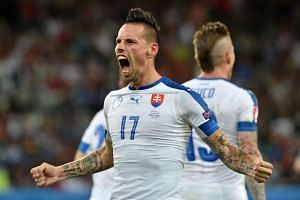 Marek Hamsik celebrates his goal.