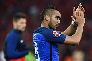 French forward Dimitri Payet, who scored the second goal against Albania, applauding fans during the match.
