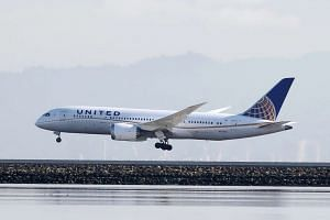 A United Airlines Boeing 787 Dreamliner touching down at San Francisco International Airport.